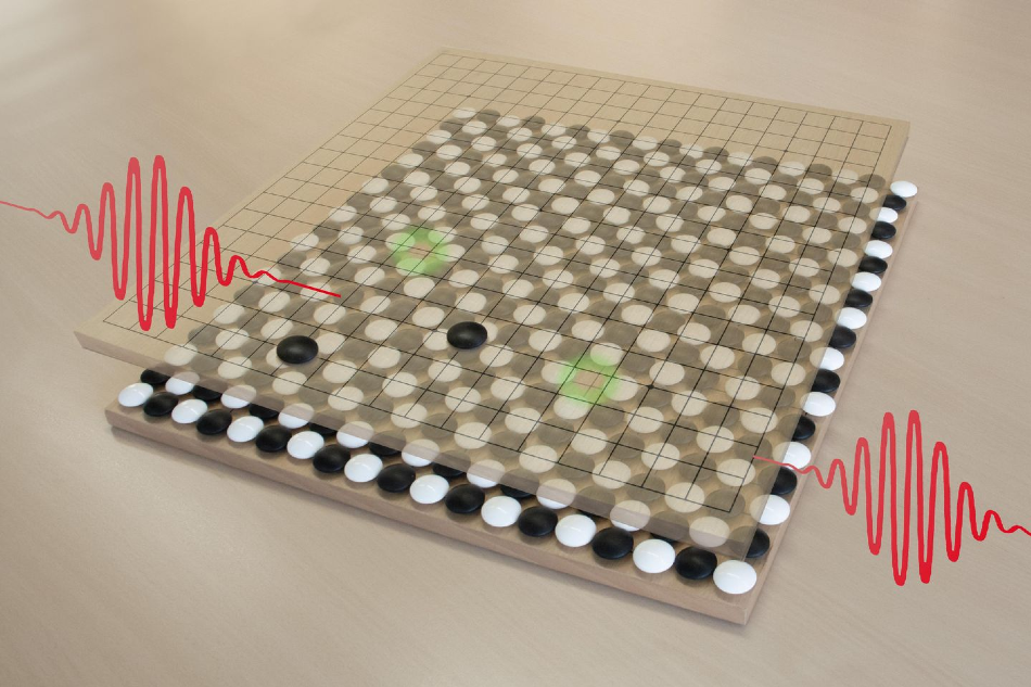 Two electrons and two holes, created by light quanta, held together by a chessboard-like background.
